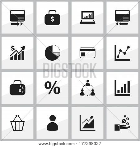Set Of 16 Editable Statistic Icons. Includes Symbols Such As Transmission, Profit, Graph Information And More. Can Be Used For Web, Mobile, UI And Infographic Design.