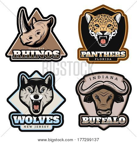 Vintage colorful animals emblems set with rhino panther wolf and buffalo heads on white background isolated vector illustration
