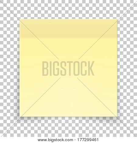 Sticky piece of yellow paper, sticker note for reminding, list, notice, info. Vector illustration of paper template isolated.