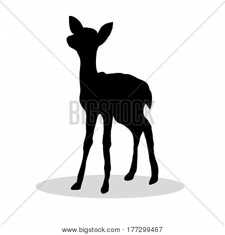 Black silhouette Fawn white background. Vector illustration
