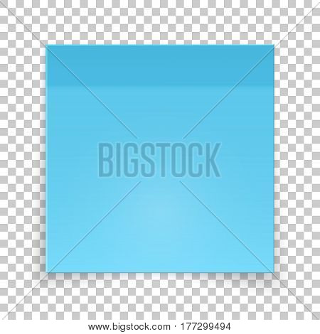 Sticky piece of blue paper, sticker note for reminding, list, notice, info. Vector illustration of paper template isolated.