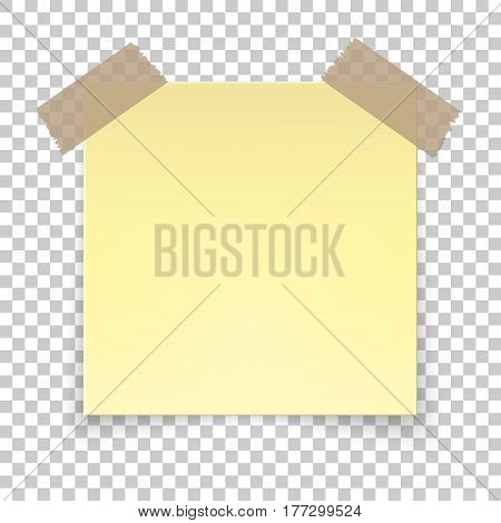 Realistic sticky tape on transparent background, empty yellow note template for your design. Vector illustration isolated.
