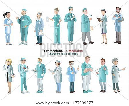 Cartoon medical characters set with doctors and physicians of different professions isolated vector illustration