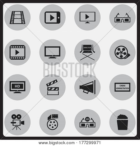 Set Of 16 Editable Movie Icons. Includes Symbols Such As Cinema Snack, Theater Agency, Monitor And More. Can Be Used For Web, Mobile, UI And Infographic Design.