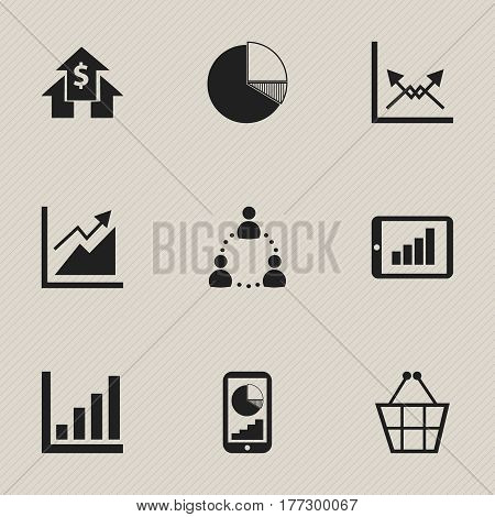 Set Of 9 Editable Statistic Icons. Includes Symbols Such As Trading Purse, Statistic, Progress And More. Can Be Used For Web, Mobile, UI And Infographic Design.
