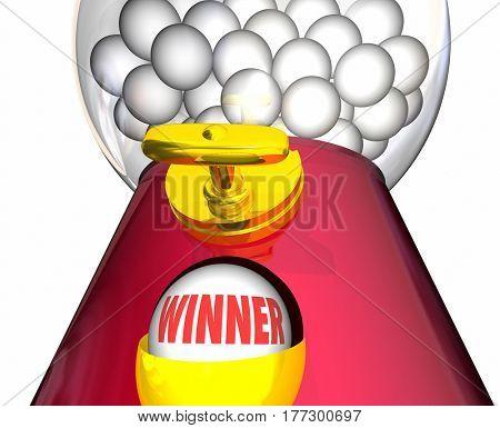 Winner Gumball Machine Lucky Winning Ball 3d Illustration
