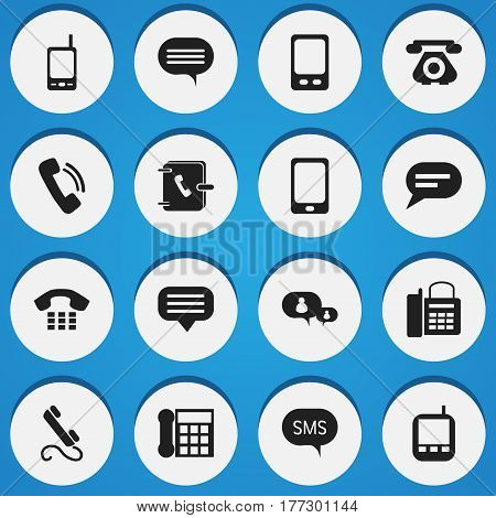 Set Of 16 Editable Gadget Icons. Includes Symbols Such As Forum, Retro Telecommunication, Talking And More. Can Be Used For Web, Mobile, UI And Infographic Design.
