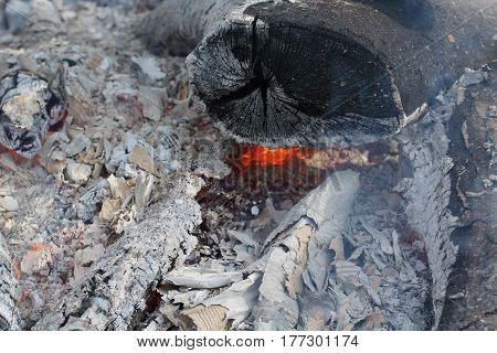 The Embers and Ash of a Large Wood Fire.