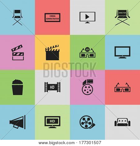 Set Of 16 Editable Cinema Icons. Includes Symbols Such As Tape, Shooting Seat, Reel And More. Can Be Used For Web, Mobile, UI And Infographic Design.