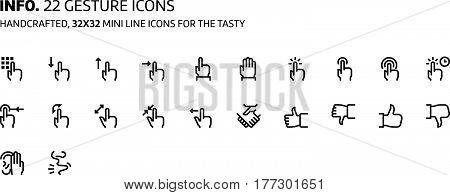 Gestures Mini Line, Illustrations, Icons