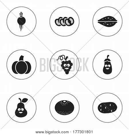 Set Of 9 Editable Cooking Icons. Includes Symbols Such As Almond, Vegetable, Gourd And More. Can Be Used For Web, Mobile, UI And Infographic Design.