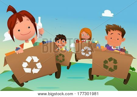 A vector illustration of Group of Kids Recycling Trash