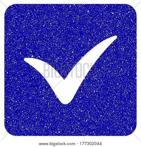 Grunge Approve Box rubber seal stamp watermark. Icon symbol with grunge design and dust texture. Unclean vector blue sign.