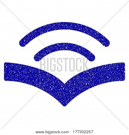 Grunge Audiobook rubber seal stamp watermark. Icon symbol with grunge design and dust texture. Unclean vector blue sticker.