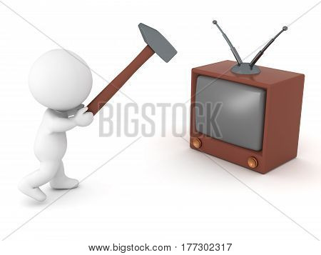 3D character smashes his TV with a slege hammer which symbolizes curing addiction to television.