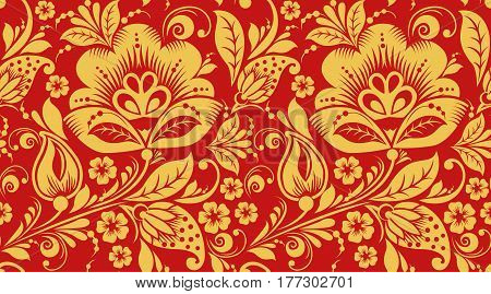 Red and gold hohloma seamless pattern texture. Russian traditional decoration in red and gold colors. Classic khokhloma background vector