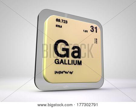 Gallium - Ga - chemical element periodic table 3d render