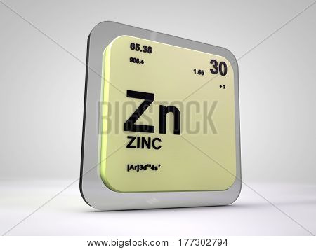 zinc - Zn - chemical element periodic table 3d render