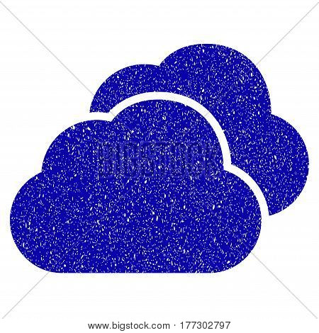 Grunge Clouds rubber seal stamp watermark. Icon symbol with grunge design and dirty texture. Unclean vector blue sign.