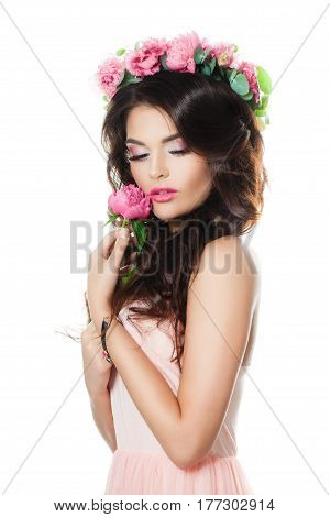 Young Fashion Model Holding Pink Flower Isolated on White Background. Summer Fashion