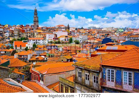 Beautiful view of the colorful old town with famous Porto landmark; Clerigos tower (Torre dos Clerigos)