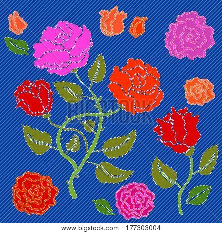 Vector floral pattern with gypsy style roses. Bohemian textile collection.