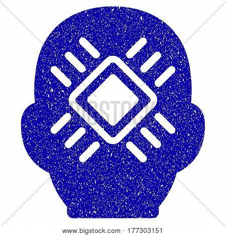 Grunge Cyborg Head rubber seal stamp watermark. Icon symbol with grunge design and dust texture. Unclean vector blue sticker.
