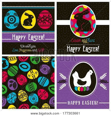 Easter greetings cards with color easter eggs hen flowers and rabbit. Ideal for printing onto fabric and paper or scrap booking vector illustration