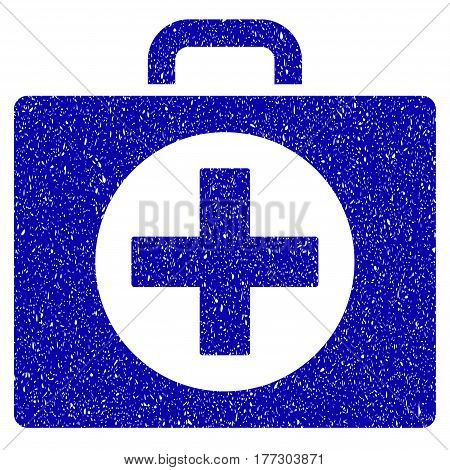 Grunge First Aid rubber seal stamp watermark. Icon symbol with grunge design and dirty texture. Unclean vector blue emblem.