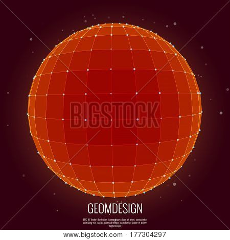 3d wireframe sphere with shading and back light and particles behind. Vector illustration.