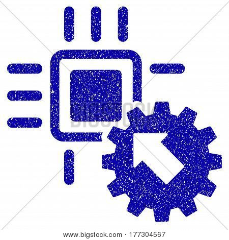 Grunge Hitech Processor And Gear Integration rubber seal stamp watermark. Icon symbol with grunge design and scratched texture. Unclean vector blue sticker.