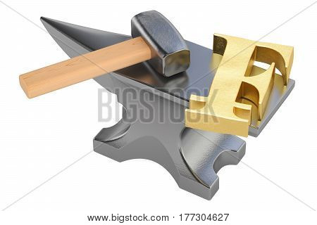 anvil with gold franc symbol 3D rendering isolated on white background