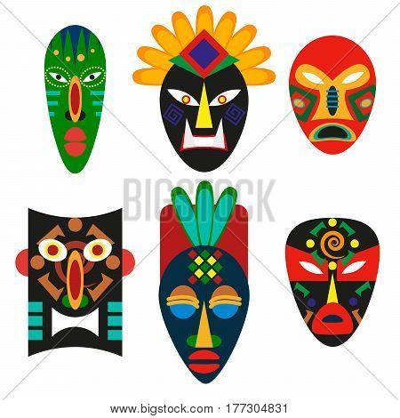 Traditional mask of African tribes. Religious mask of shamans or voodoo. Ancient decorative decoration. Ethnic culture of Aboriginal indigenous peoples of the African continent. Cult zulu