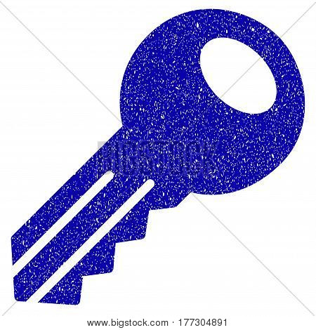 Grunge Key rubber seal stamp watermark. Icon symbol with grunge design and dirty texture. Unclean vector blue sign.