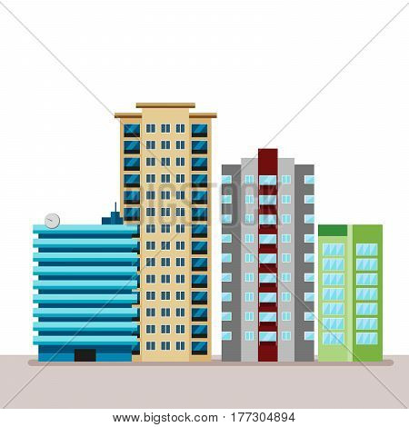Flat business city urban landscape. For decoration and creativity in urban and industrial design theme. Urban flat cityscape