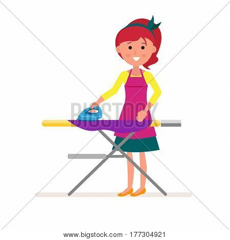 Cartoon Housekeeper or servant housewife ironing clothes on ironing board. Concept design housework in flat style