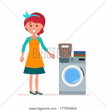 Woman housewife washes clothes in the washing machine. Classic Household Duty Of Staying. Flat character isolated on white background. Vector, illustration