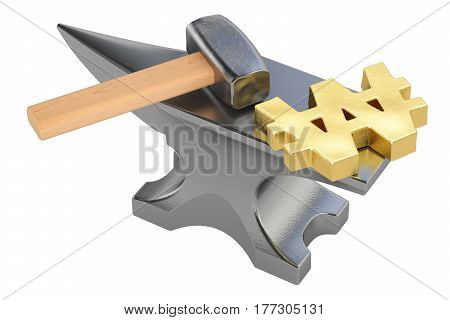 anvil with gold won symbol 3D rendering isolated on white background