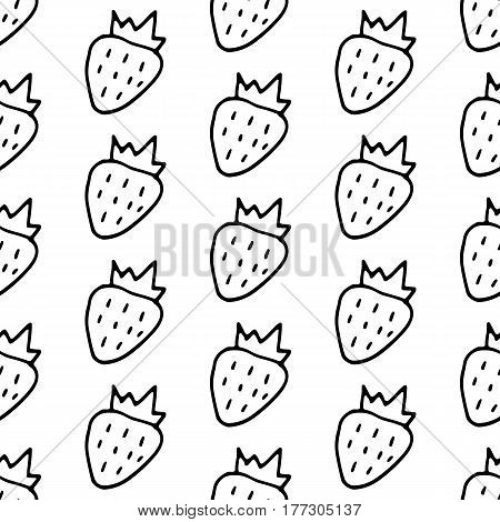 Cartoon strawberry pattern with doodle berry. Cute vector black and white strawberry pattern. Seamless monochrome strawberry pattern for fabric, wallpapers, wrapping paper, cards and web backgrounds.