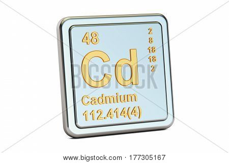Cadmium Cd chemical element sign. 3D rendering isolated on white background