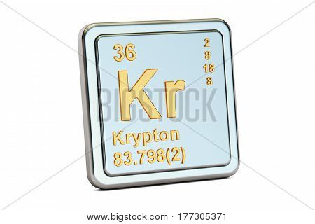 Krypton Kr chemical element sign. 3D rendering isolated on white background
