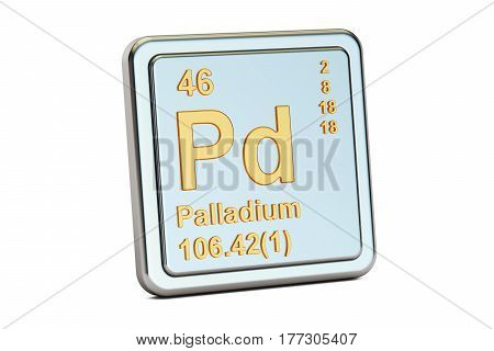 Palladium Pd chemical element sign. 3D rendering isolated on white background