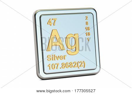 Silver Ag chemical element sign. 3D rendering isolated on white background