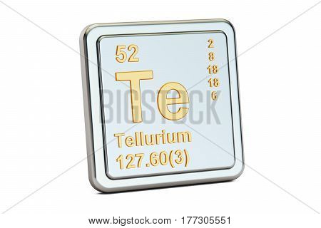 Tellurium Te chemical element sign. 3D rendering isolated on white background