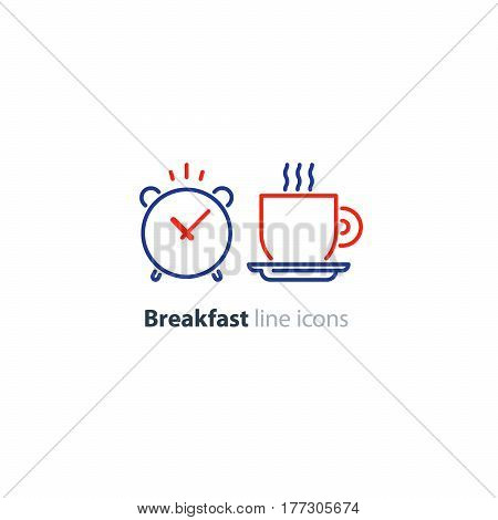 Breakfast cup of tea, morning coffee, alarm clock, lunch time concept, hot drink, vector line icons