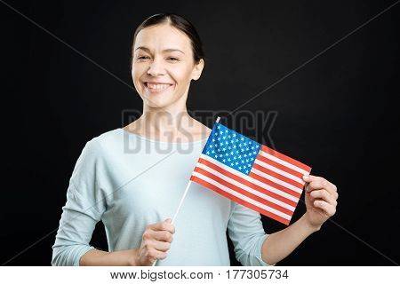 Love America. Positive delighted brunette wearing blue jumper preparing for Independence Day looking on camera