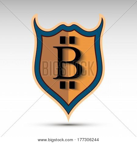 The vector shield with bit coin symbol.Flat design