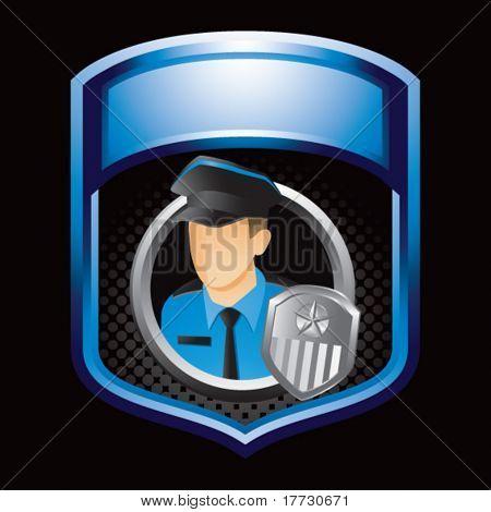 policial azul brilhante exibição