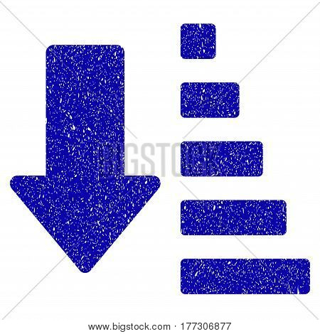 Grunge Sort Down Arrow rubber seal stamp watermark. Icon symbol with grunge design and scratched texture. Unclean vector blue emblem.