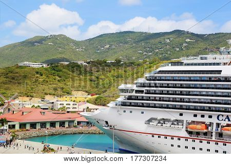ST. THOMAS, US VIRGIN ISLANDS - APRIL 04,2015:  Cruise ship Carnival Splendor, docked at St Thomas, on a clear sunny day.